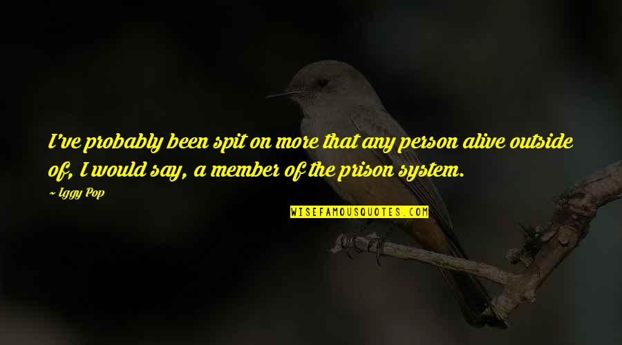 The Prison System Quotes By Iggy Pop: I've probably been spit on more that any