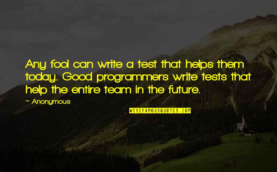The Programmers Quotes By Anonymous: Any fool can write a test that helps