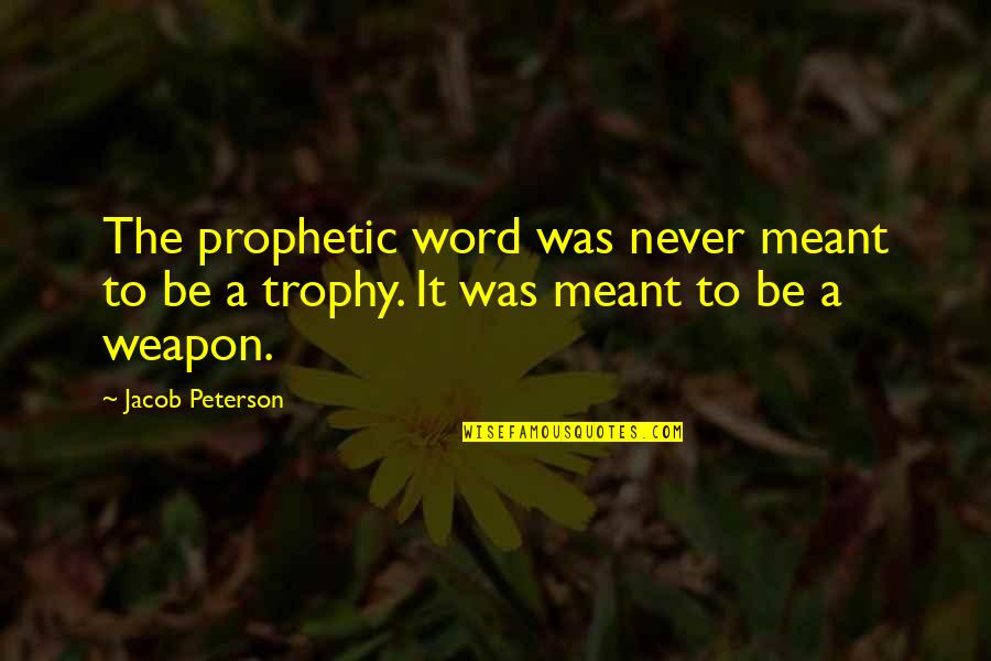 The Prophetic Quotes By Jacob Peterson: The prophetic word was never meant to be
