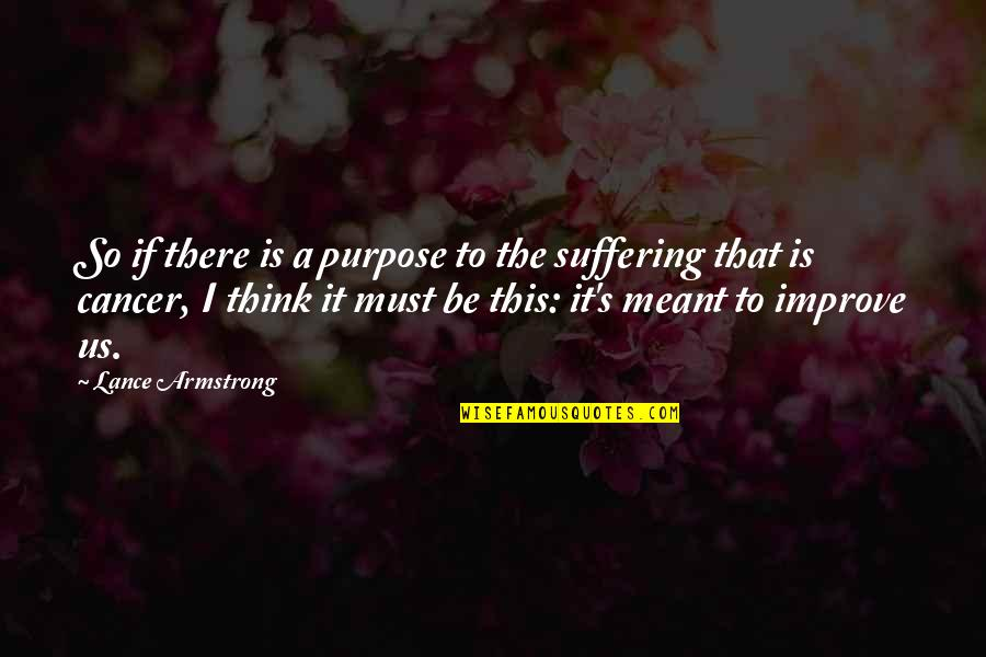 The Purpose Of Suffering Quotes By Lance Armstrong: So if there is a purpose to the