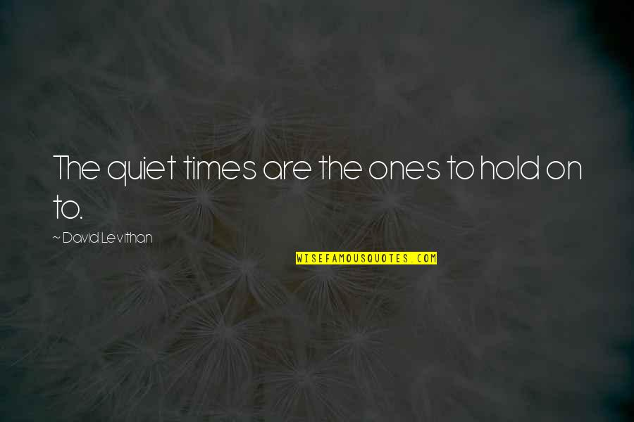 The Quiet Moments Quotes By David Levithan: The quiet times are the ones to hold