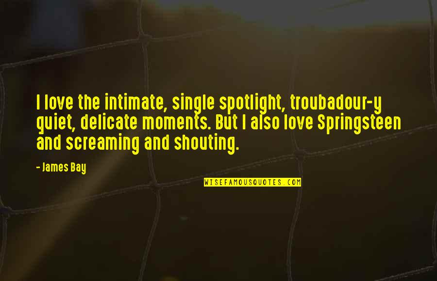 The Quiet Moments Quotes By James Bay: I love the intimate, single spotlight, troubadour-y quiet,