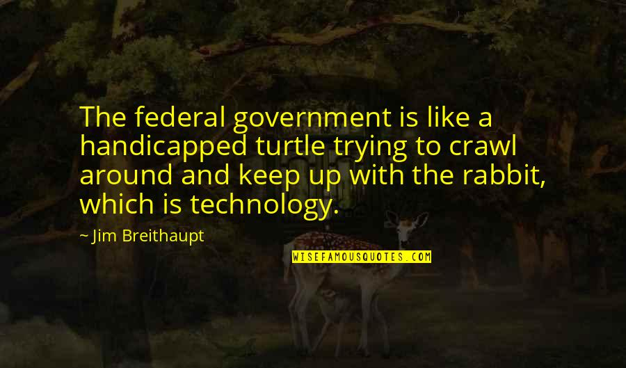 The Rabbit And The Turtle Quotes By Jim Breithaupt: The federal government is like a handicapped turtle