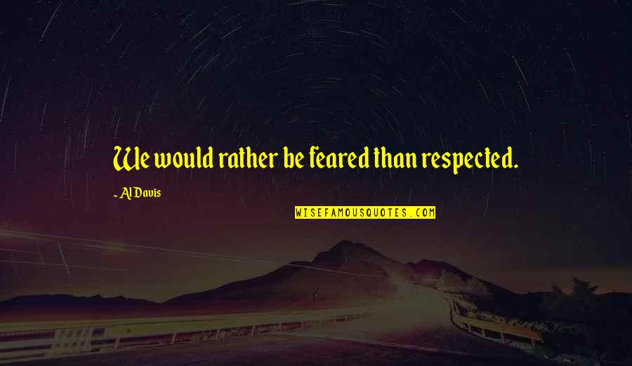 The Raiders Quotes By Al Davis: We would rather be feared than respected.