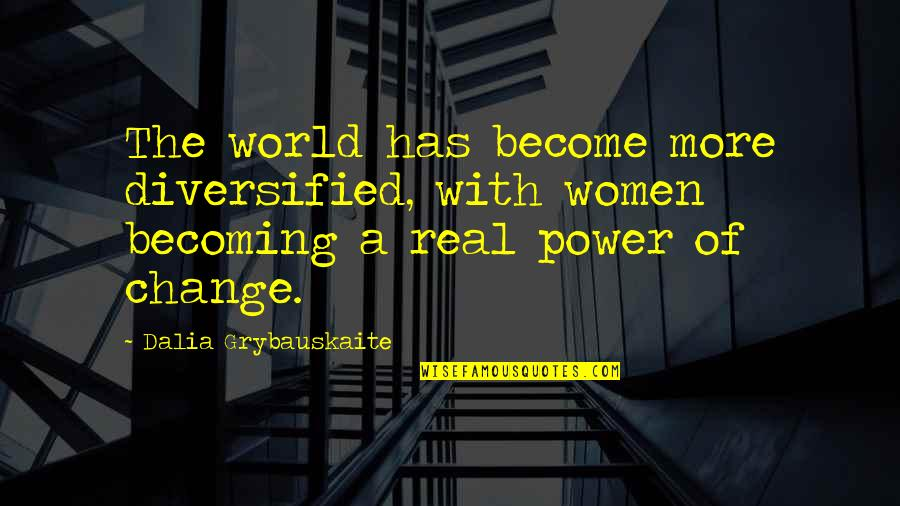 The Real Power Quotes By Dalia Grybauskaite: The world has become more diversified, with women