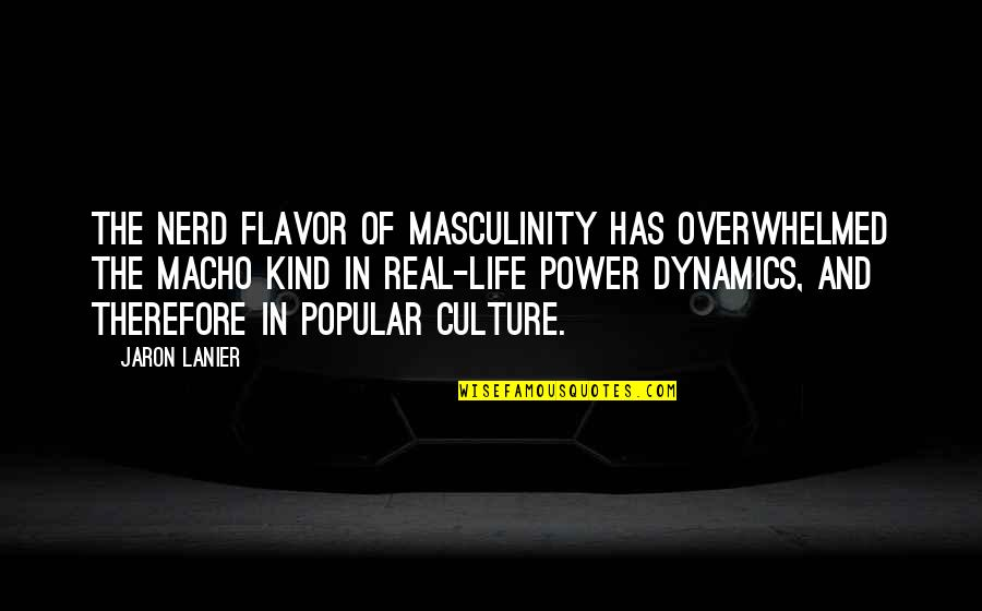 The Real Power Quotes By Jaron Lanier: The nerd flavor of masculinity has overwhelmed the