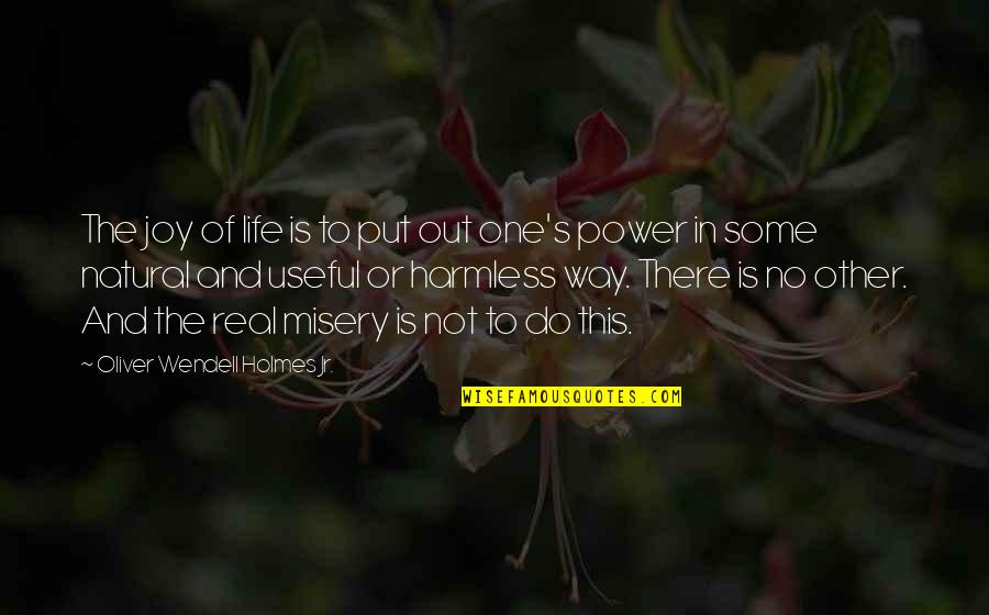 The Real Power Quotes By Oliver Wendell Holmes Jr.: The joy of life is to put out