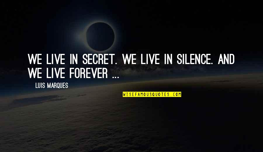 The Secret Book Inspirational Quotes By Luis Marques: We live in Secret. We live in Silence.