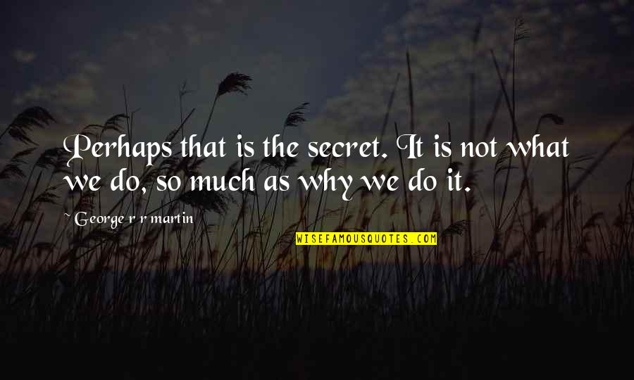 The Secret Quotes By George R R Martin: Perhaps that is the secret. It is not