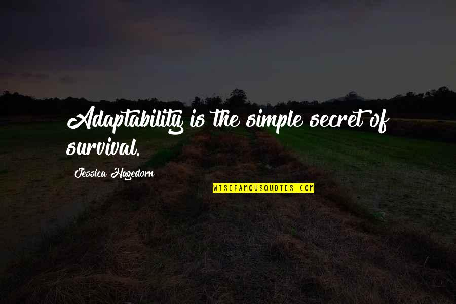 The Secret Quotes By Jessica Hagedorn: Adaptability is the simple secret of survival.
