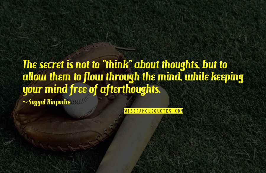 """The Secret Quotes By Sogyal Rinpoche: The secret is not to """"think"""" about thoughts,"""