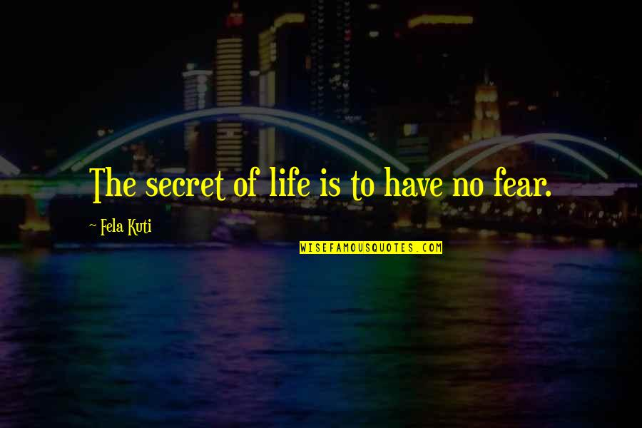 The Secret To Life Quotes By Fela Kuti: The secret of life is to have no
