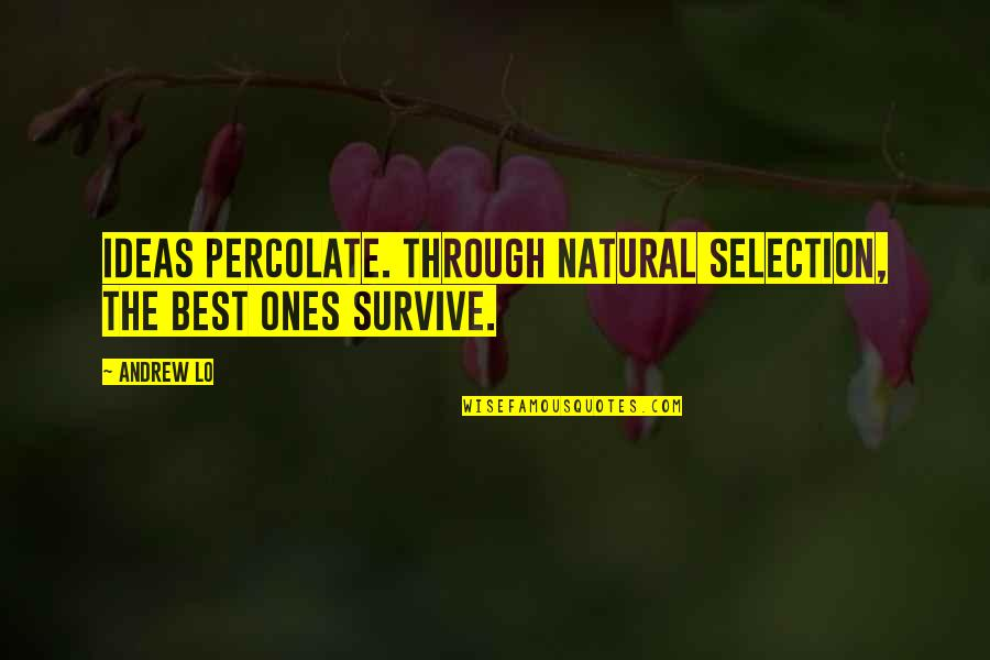 The Selection Quotes By Andrew Lo: Ideas percolate. Through natural selection, the best ones