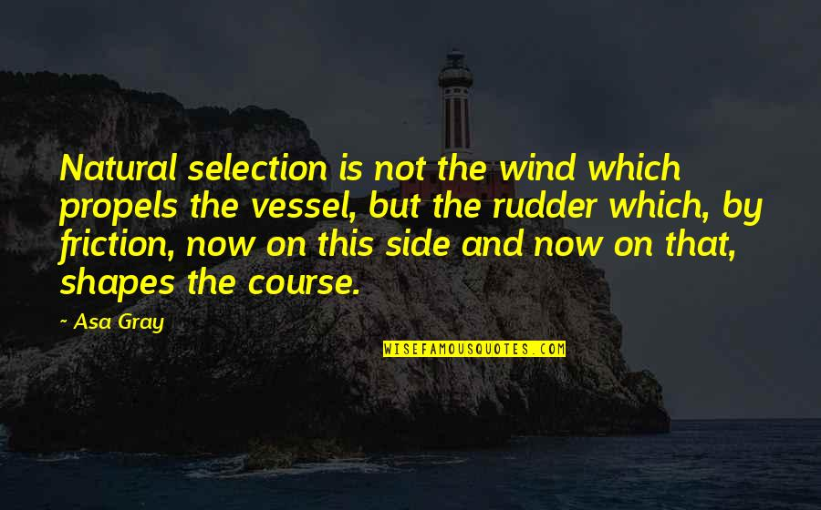 The Selection Quotes By Asa Gray: Natural selection is not the wind which propels