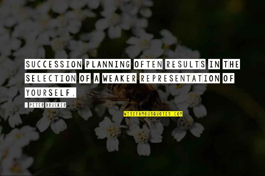 The Selection Quotes By Peter Drucker: Succession planning often results in the selection of