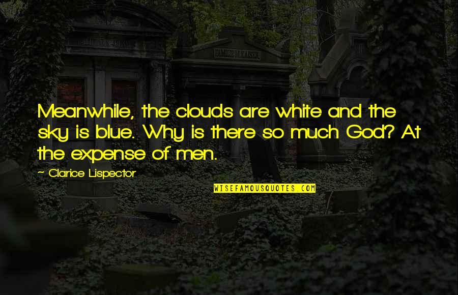 The Sky And God Quotes By Clarice Lispector: Meanwhile, the clouds are white and the sky