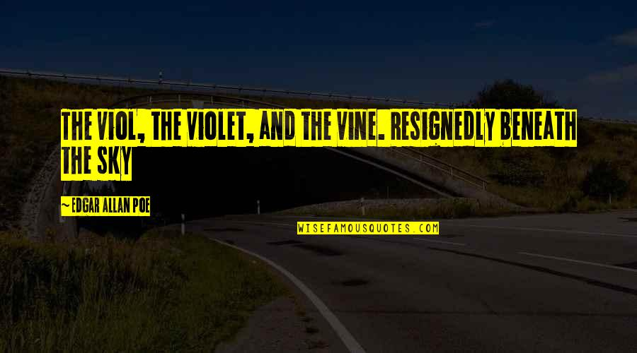 The Sky Quotes By Edgar Allan Poe: The viol, the violet, and the vine. Resignedly