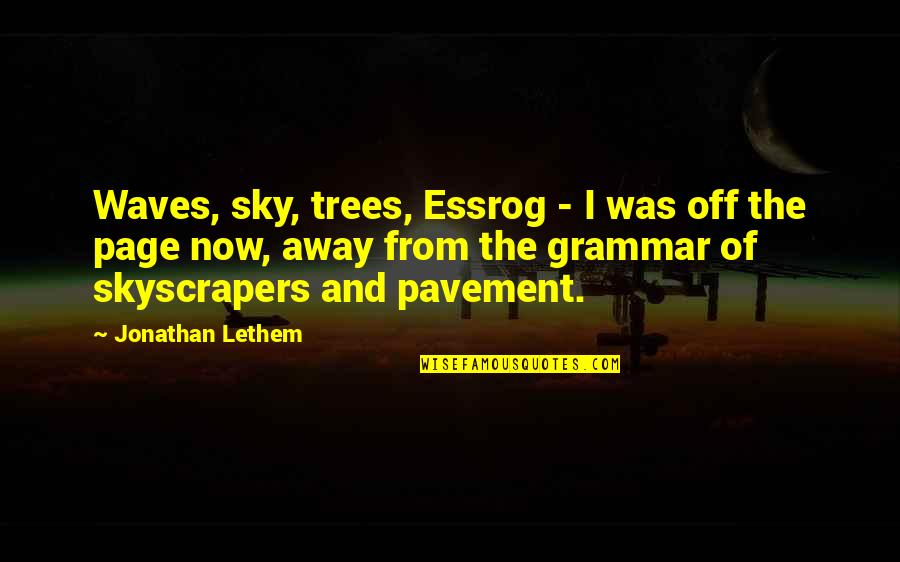 The Sky Quotes By Jonathan Lethem: Waves, sky, trees, Essrog - I was off