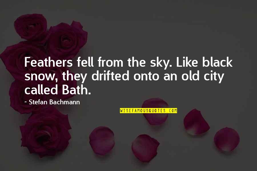 The Sky Quotes By Stefan Bachmann: Feathers fell from the sky. Like black snow,