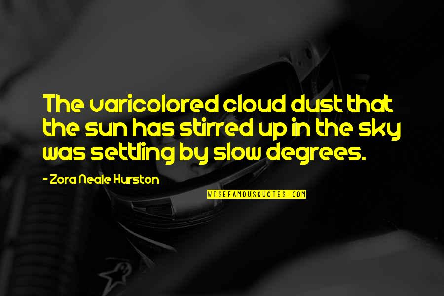 The Sky Quotes By Zora Neale Hurston: The varicolored cloud dust that the sun has