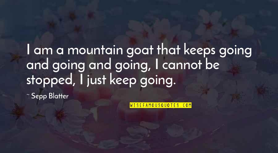 The Soul Of The World In The Alchemist Quotes By Sepp Blatter: I am a mountain goat that keeps going