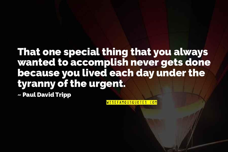 The Special Day Quotes By Paul David Tripp: That one special thing that you always wanted