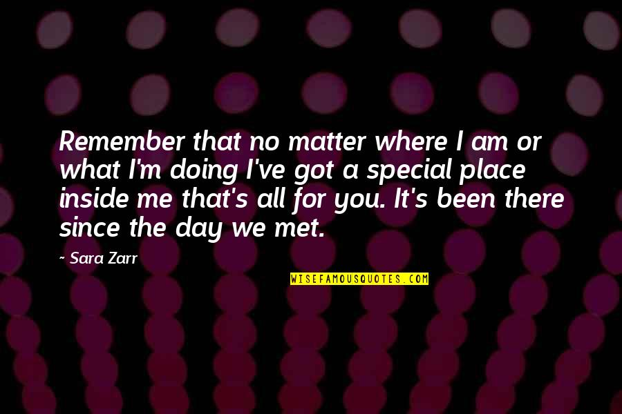 The Special Day Quotes By Sara Zarr: Remember that no matter where I am or