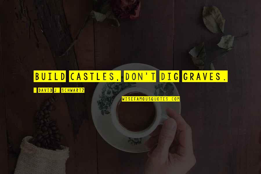 The Suffragists Quotes By David J. Schwartz: Build castles, don't dig graves.