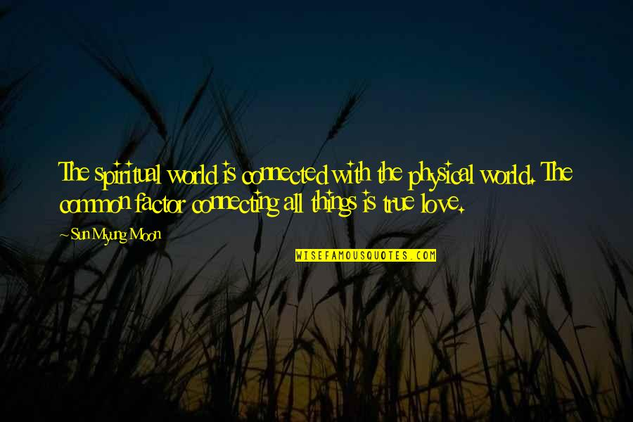 The Sun And Moon Love Quotes By Sun Myung Moon: The spiritual world is connected with the physical
