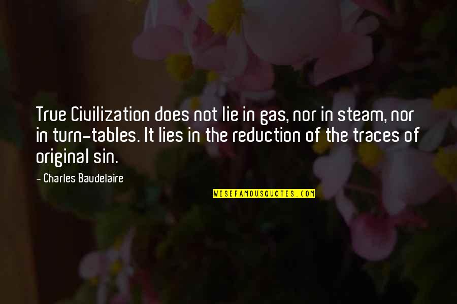 The Tables Turn Quotes By Charles Baudelaire: True Civilization does not lie in gas, nor