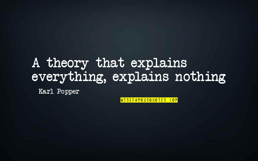The Theory Of Everything Quotes By Karl Popper: A theory that explains everything, explains nothing