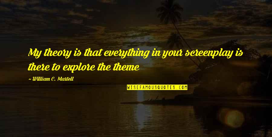 The Theory Of Everything Quotes By William C. Martell: My theory is that everything in your screenplay