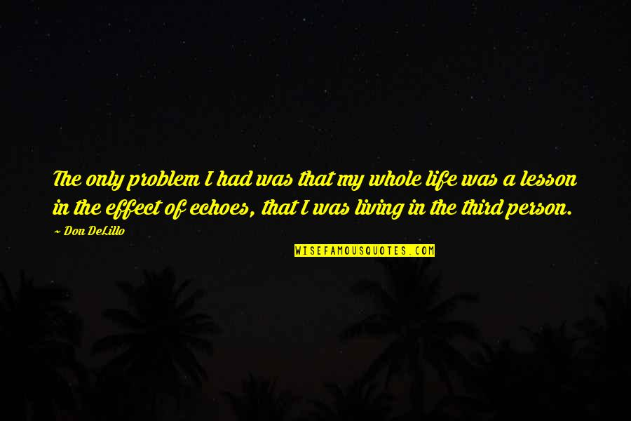 The Third Person Quotes By Don DeLillo: The only problem I had was that my