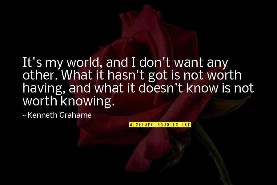 The Trinity Of God Quotes By Kenneth Grahame: It's my world, and I don't want any