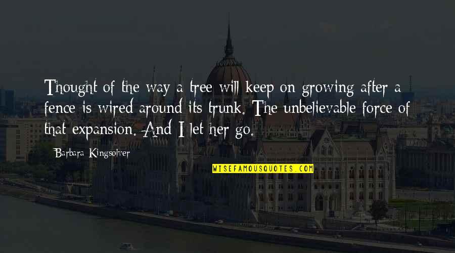 The Unbelievable Quotes By Barbara Kingsolver: Thought of the way a tree will keep