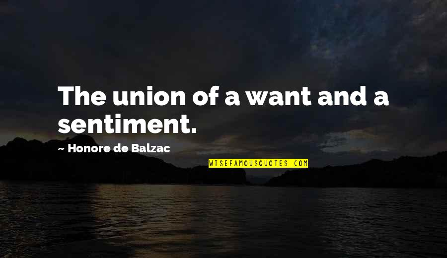 The Union Quotes By Honore De Balzac: The union of a want and a sentiment.