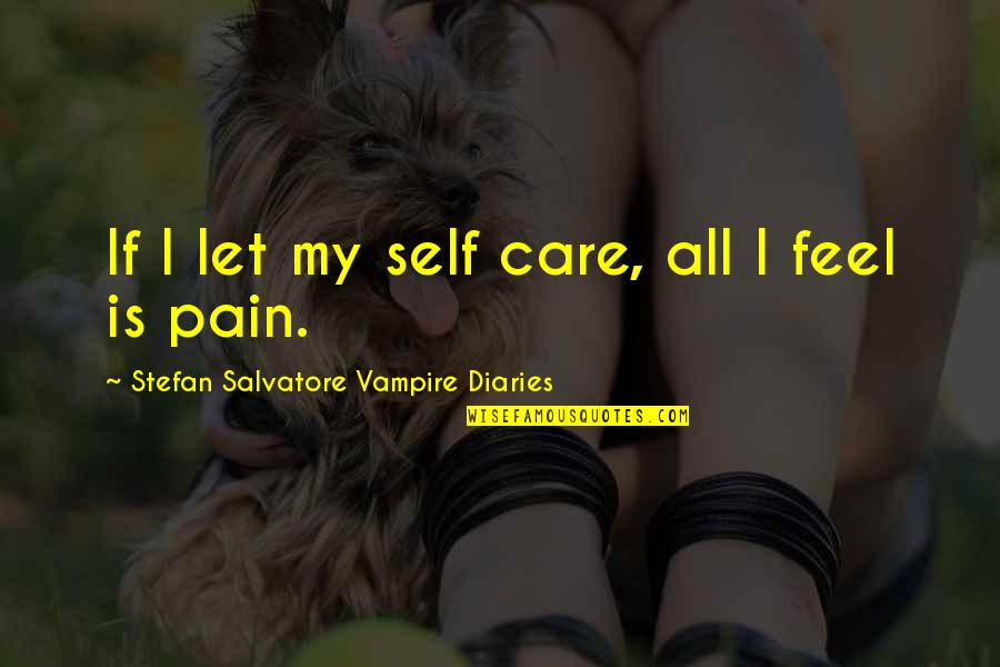 The Vampire Diaries Quotes By Stefan Salvatore Vampire Diaries: If I let my self care, all I
