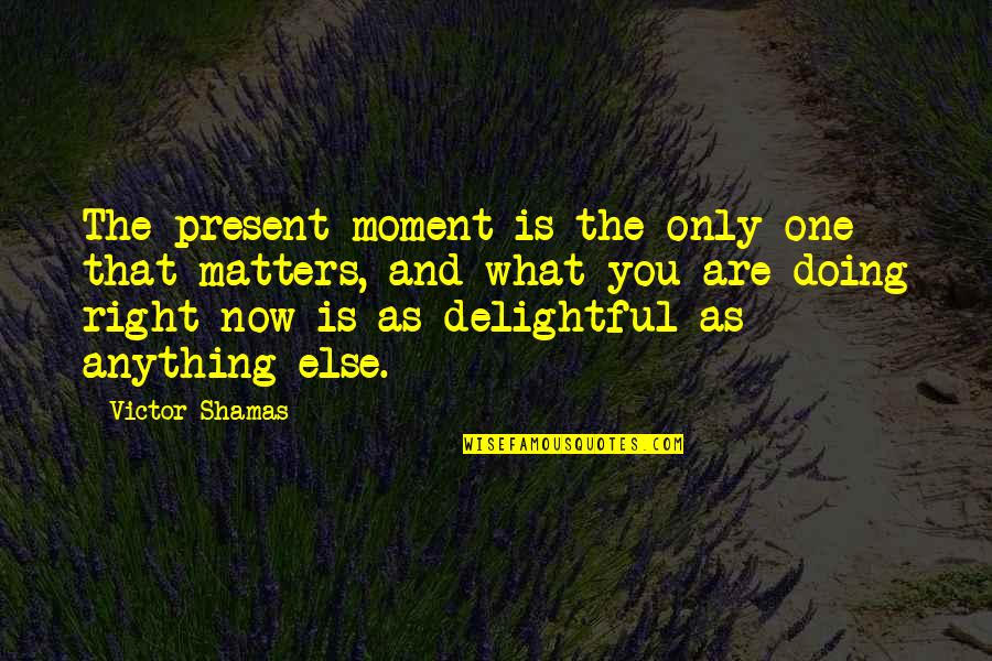 The Victor Quotes By Victor Shamas: The present moment is the only one that