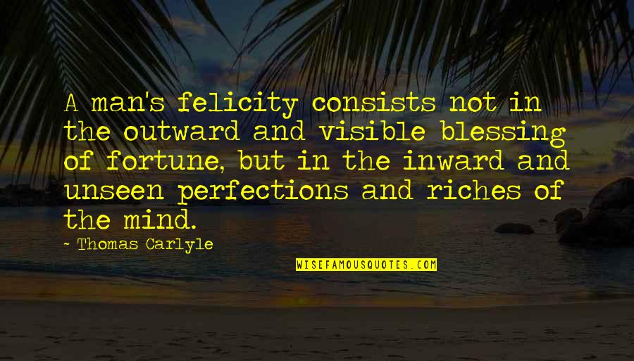 The Visible Man Quotes By Thomas Carlyle: A man's felicity consists not in the outward