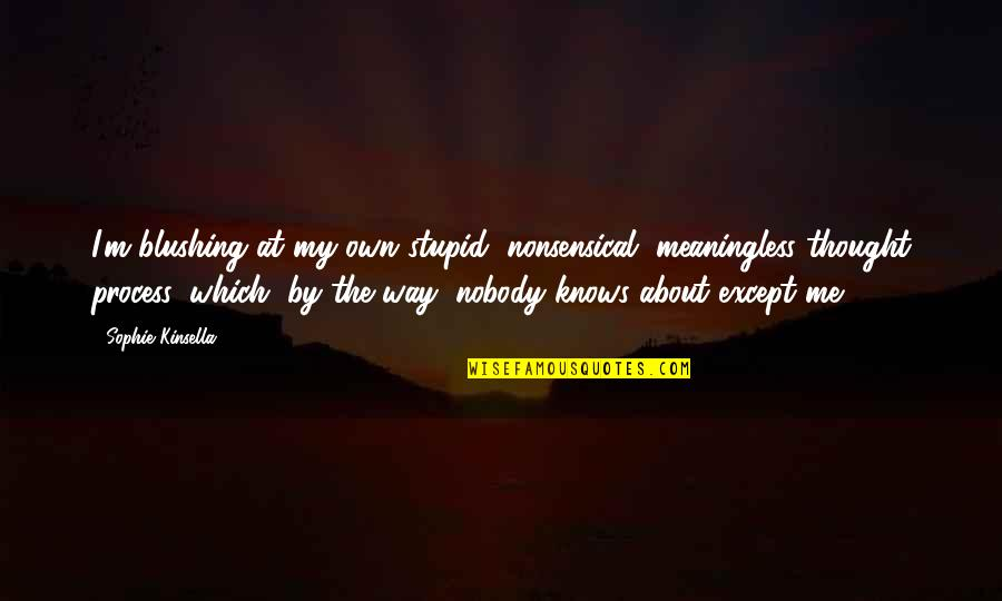 The Way I'm Quotes By Sophie Kinsella: I'm blushing at my own stupid, nonsensical, meaningless