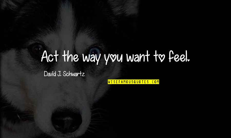 The Way You Act Quotes By David J. Schwartz: Act the way you want to feel.