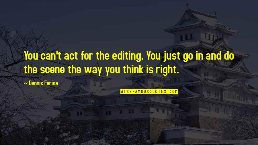 The Way You Act Quotes By Dennis Farina: You can't act for the editing. You just
