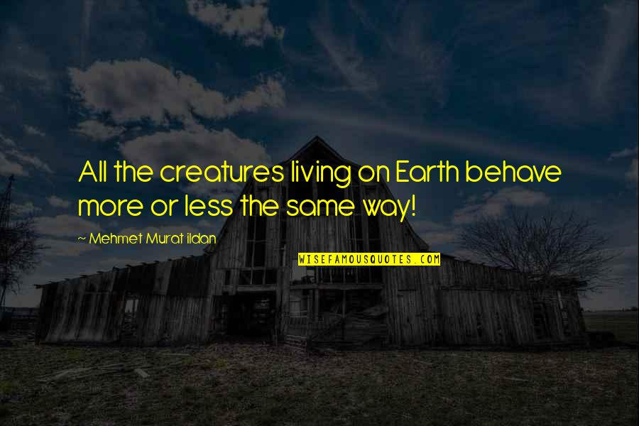 The Way You Behave Quotes By Mehmet Murat Ildan: All the creatures living on Earth behave more