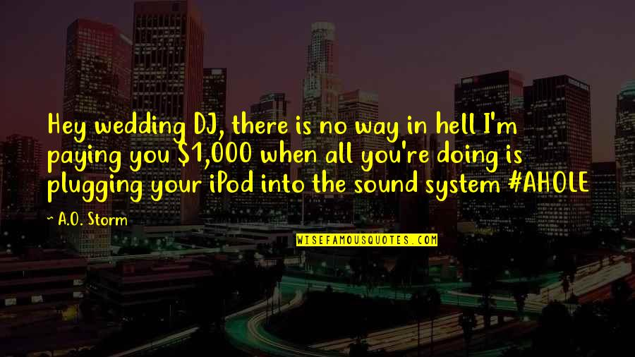 The Wedding Dance Quotes By A.O. Storm: Hey wedding DJ, there is no way in