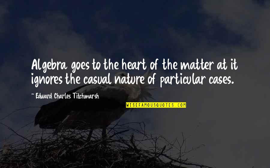The Wedding Dance Quotes By Edward Charles Titchmarsh: Algebra goes to the heart of the matter