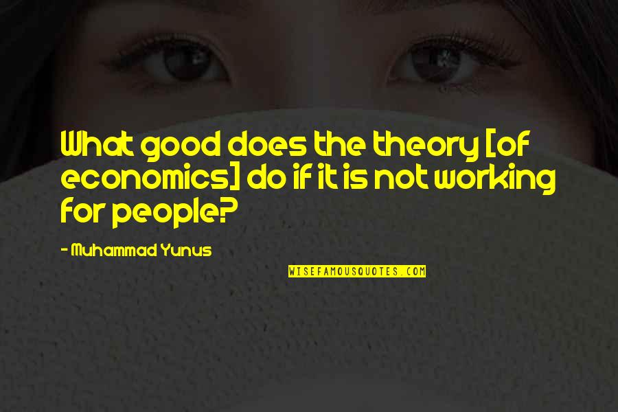 The What If Quotes By Muhammad Yunus: What good does the theory [of economics] do