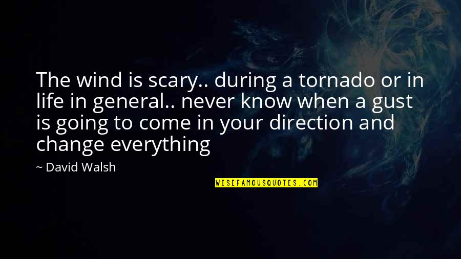 The Wind And Life Quotes By David Walsh: The wind is scary.. during a tornado or