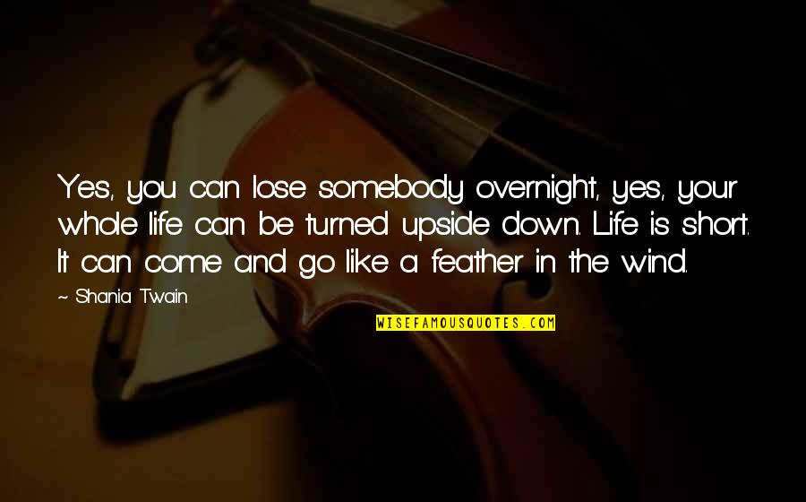 The Wind And Life Quotes By Shania Twain: Yes, you can lose somebody overnight, yes, your