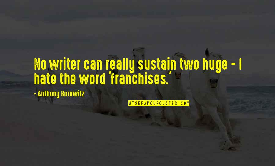 The Word Hate Quotes By Anthony Horowitz: No writer can really sustain two huge -