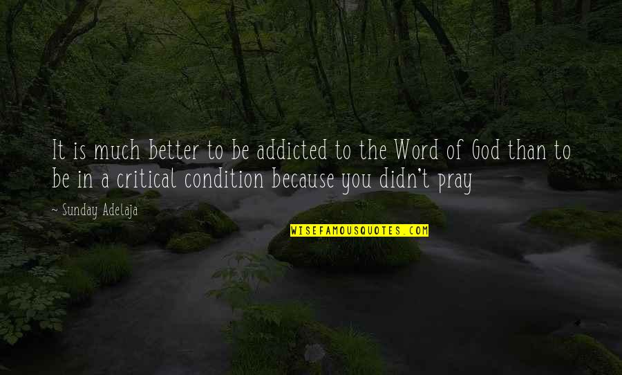 The Word Of God Quotes By Sunday Adelaja: It is much better to be addicted to